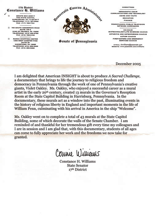 Letter - Senator Williams