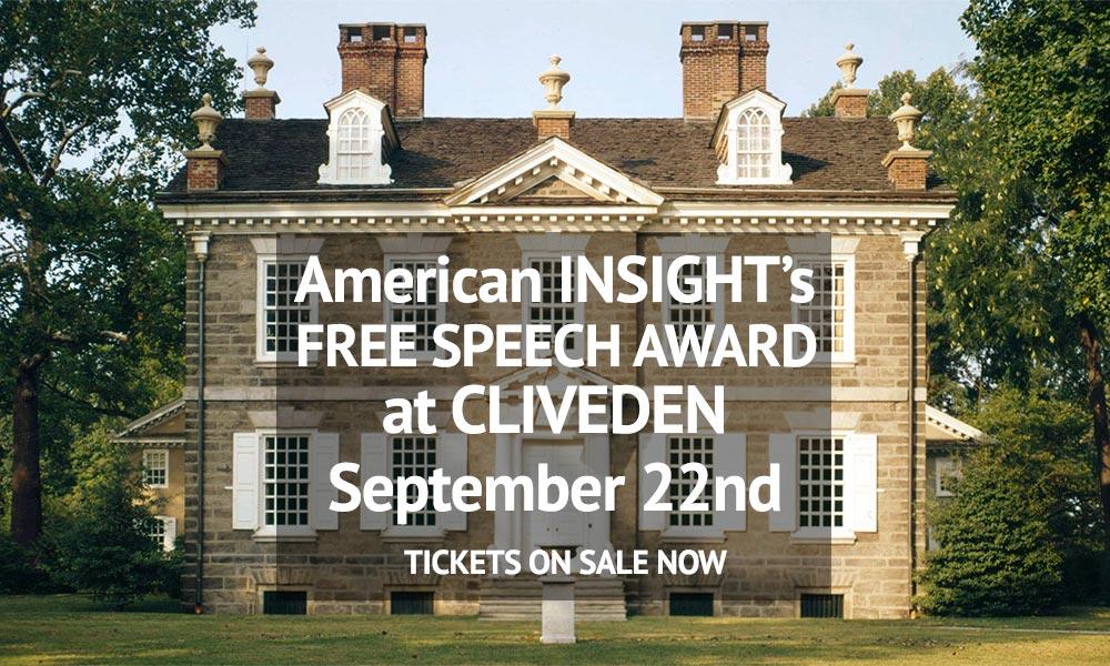 Free Speech Award, Cliveden, September 22nd, Philadelphia, PA